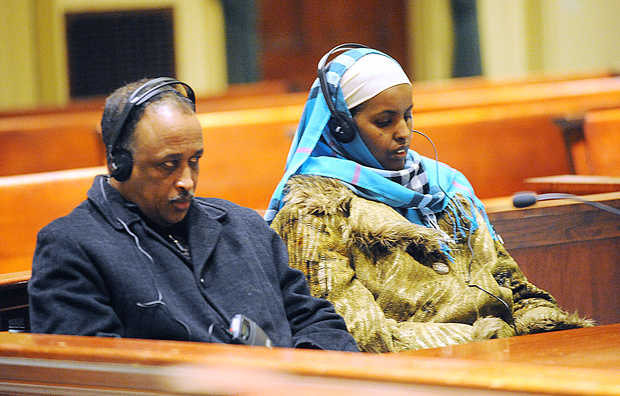 Ali-Nassir Ahmed and Roda Abdi were found guilty felony theft by deception in Androscoggin County Superior Court. Photo: Amber Waterman/Sun Journal.