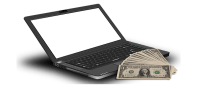 laptop and money