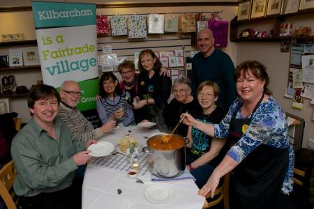 Kilbarchan Fairtrade Group at the curry night in Bobbins Tea Room.