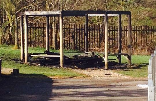 Auchenlodment Primary School outdoor pavilion classroom destroyed