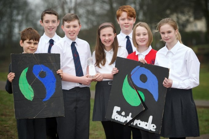 Bridge of Weir pupils involved in the schools Fairtrade group.