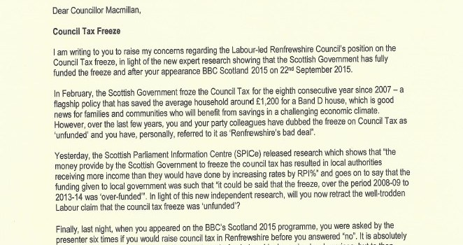 MP attacks Renfrewshire Councils 'lack of logic' on Council Tax freeze