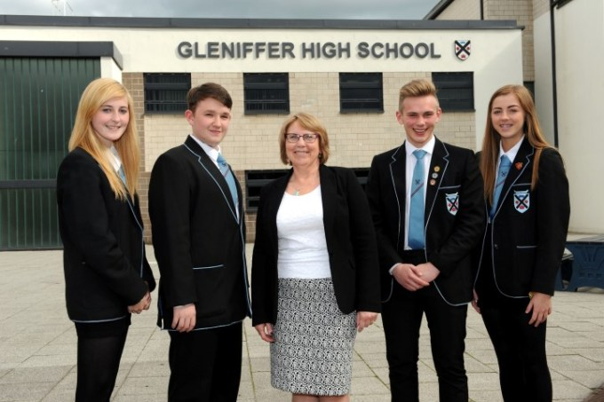 Gleniffer High pupils with Councillor Jacqueline Henry