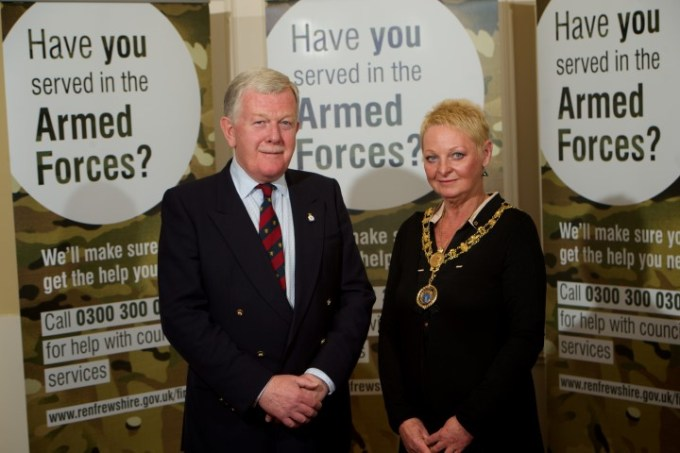 Provost Anne Hall with Lt Col Neil Morrison OBE