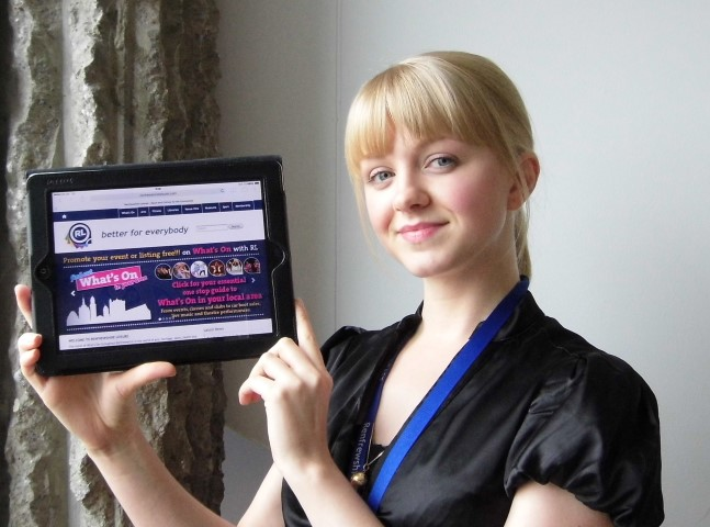 Renfrewshire Leisure marketing assistant, Cassandra McIntosh shows off the new website.