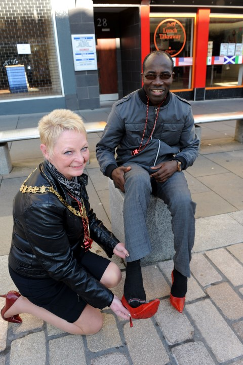 Renfrewshire Provost Anne Hall and Samuel Yurokun of the Association of African Communities in Renfrewshire.