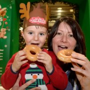 Santa's doughnut feast at mall's Christmas lights switch on