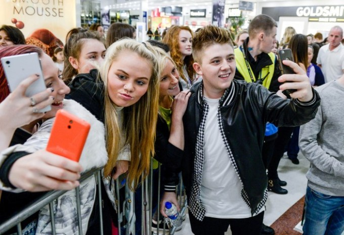 Scots singer Nicholas McDonald met fans for a few selfies after he sang at the Christmas lights switch on at the intu Braehead shopping centre.