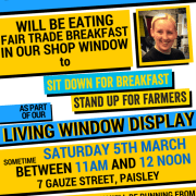 Mhairi Black to eat breakfast in shop window for fair trade