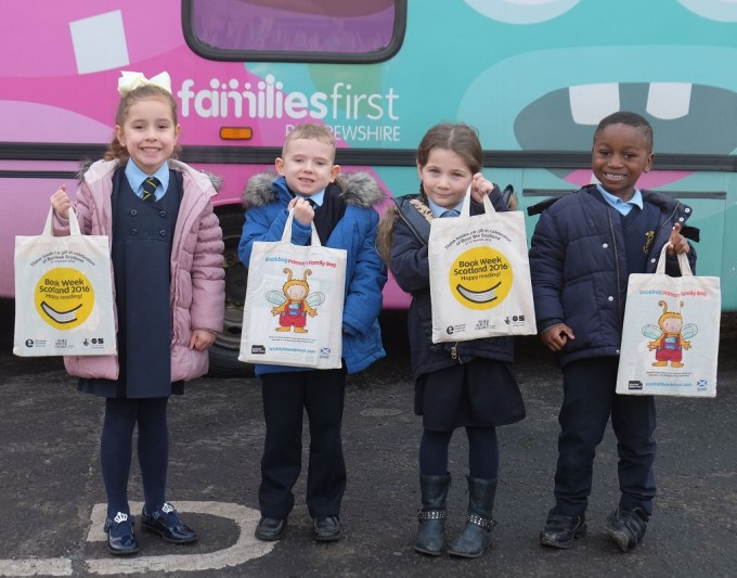 Gallowhill's St Catherine's Primary 1 pupils, from left, Eloise Colquhoun, Alistair Grier, Freya McKenna and Joshua Dapaah