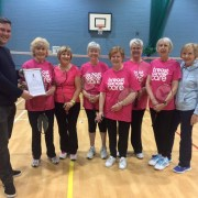 Tom Arthur congratulates Barrhead badminton club on breast cancer fundraiser