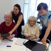 Old friends who have not seen each other for 60 years 'reconnect' through technology classes