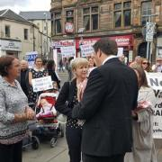 Mhairi Black heckled by protesters campaigning closure of Paisley's sick kids ward