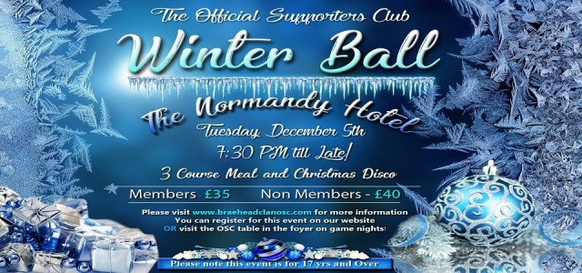Braehead Clan winter ball 2017 tickets on sale