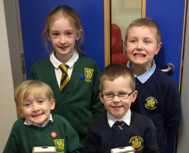 St David's andCochrane Castle Primary pupils get charged up for recycling