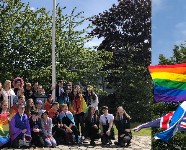 Rainbow flag raised outside Renfrewshire Council HQ for the first time to mark International Day Against Homophobia, Transphobia and Biphobia