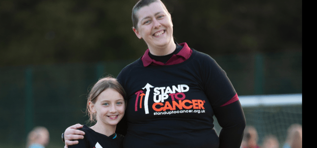 Brave Joanne joins Parkmoor Girls FC to stand up to cancer – in orange