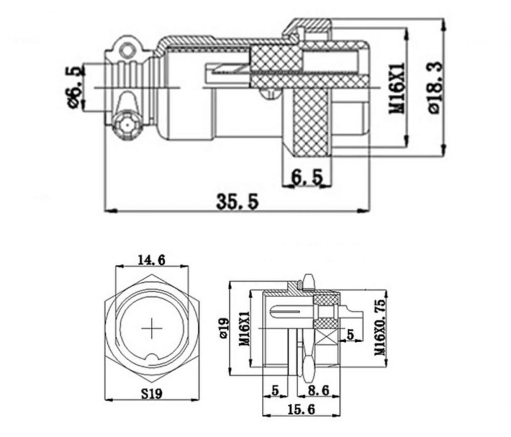 Gx 16 4 Pin Plug Panel Mount Socket Circular Connector