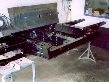 New original Renault chassis being prepared.