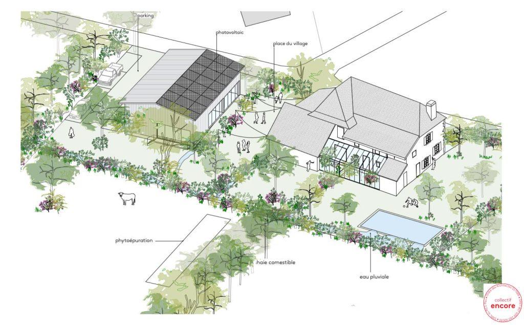 Plan architectural de rénovation de la ferme Mouliaa, site expérimental du projet