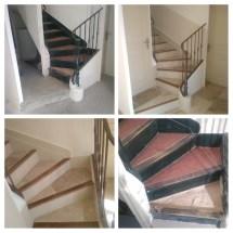 escaliers travertins, renovation complète