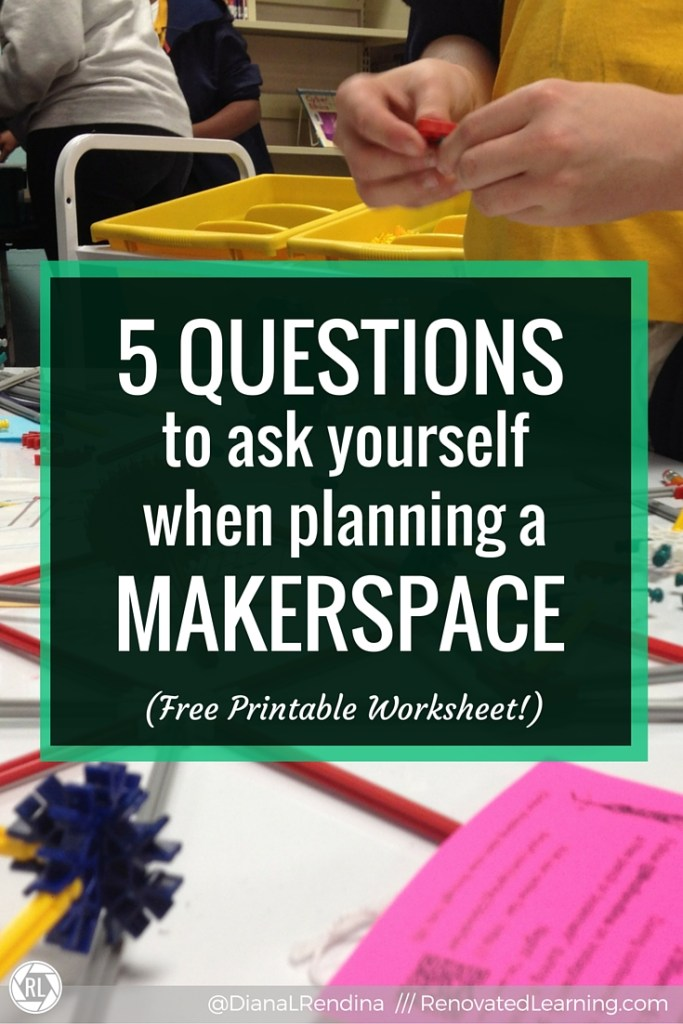 5 QUESTIONS to ask yourself when planning a MAKERSPACE | Many educators want to create makerspaces in their schools but aren't sure of where to get started. These five questions can help you to start the planning process and figure out where you want to go. | RenovatedLearning.com