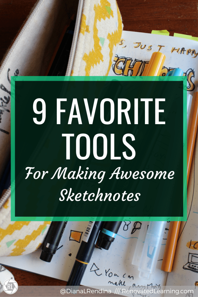 9 Favorite Tools for Making Awesome Sketchnotes // Here's some of my favorite pens, notebooks, markers and pencils for making physical sketchnotes.