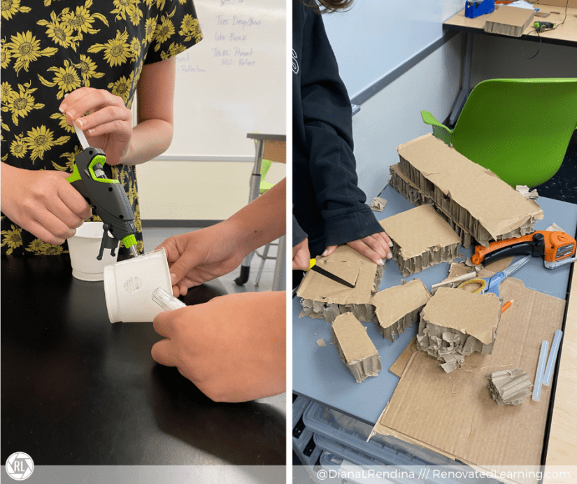 Students using hot glue guns, canary safety cutter knife, and Worx Electric scissors