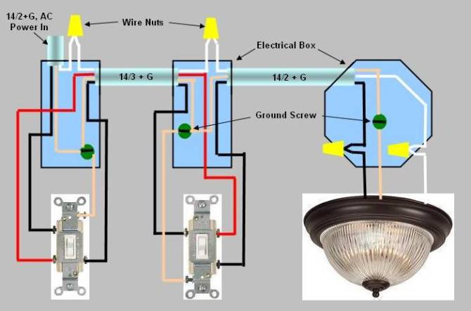 3way switch installation  circuit style 3
