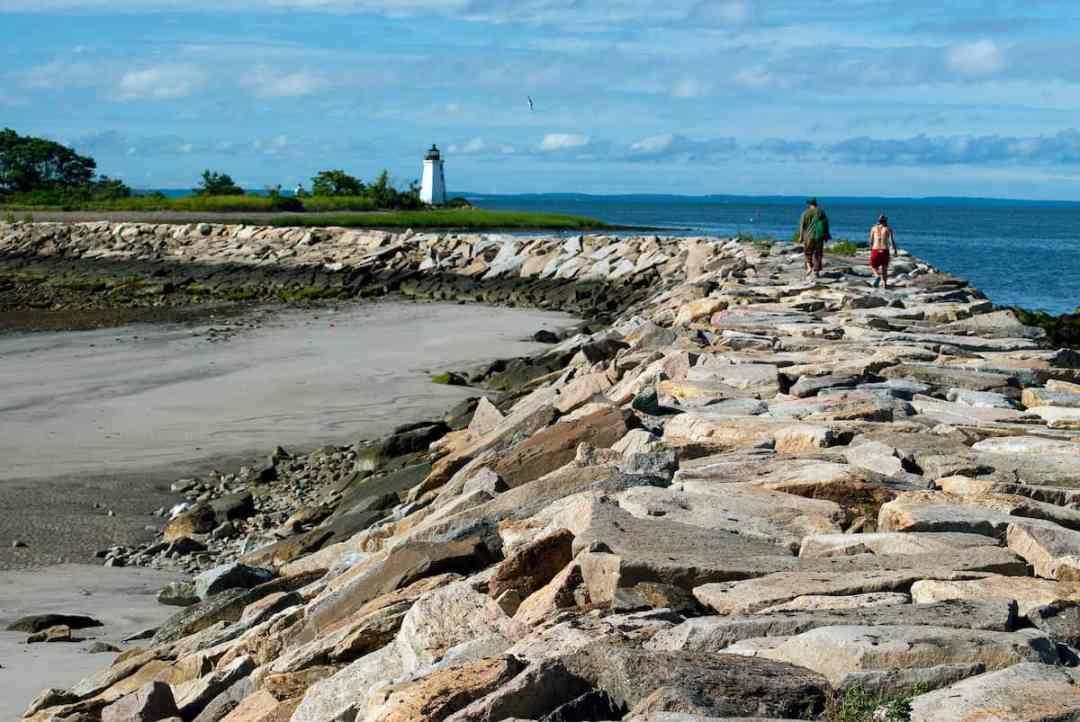 Rocks around the beach in Bridgeport, CT.
