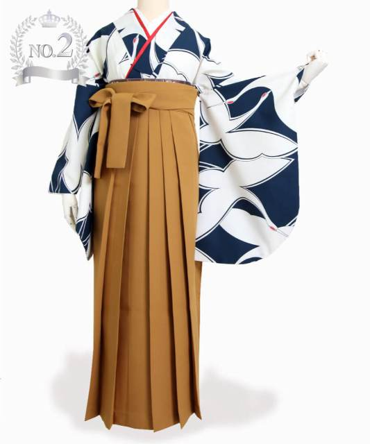 👑№2【卒業袴】知的で大胆な鶴柄☆鶴/紺白