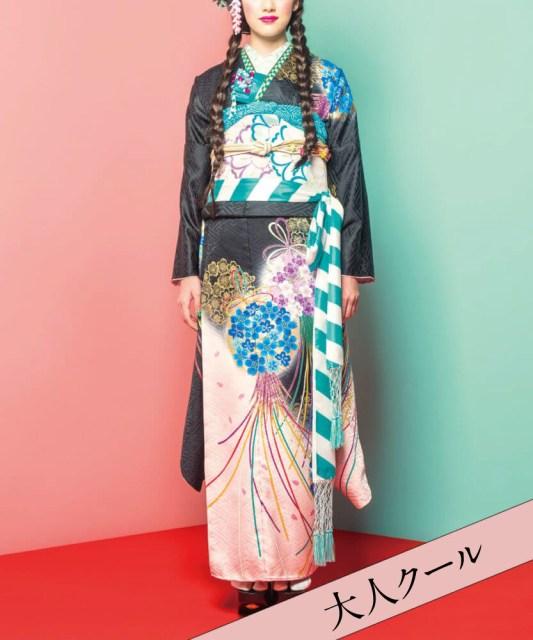【成人式/参列/振袖】お花と裾のピンクがカッコ可愛い☆黒地花くす玉