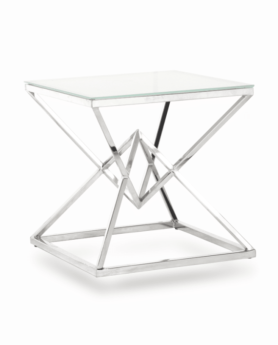 Silver Diamond End Table Renal Atlanta Party Rental