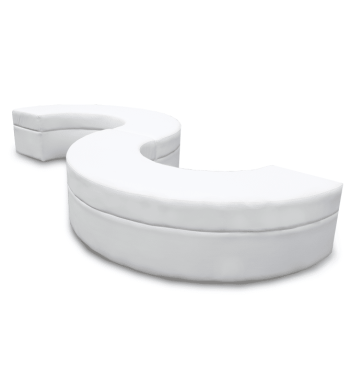 Luxe White Serpentine Ottoman and Lounge Rentals are perfect for corporate events and other party rental needs.