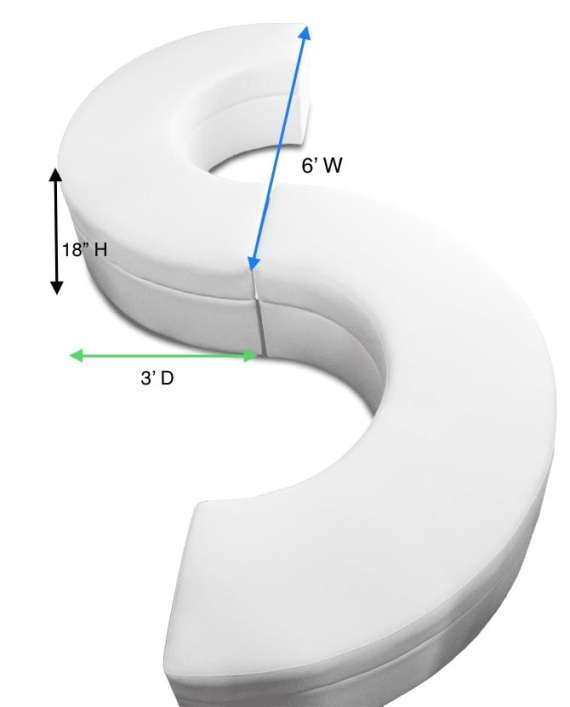Crescent Serpentine Ottoman Measurement