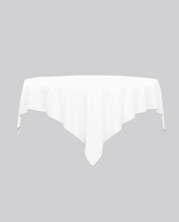 white 90 x 90 polyester overlay square tablecloth