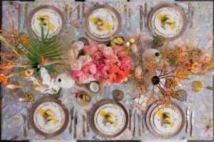 Festive table decor.