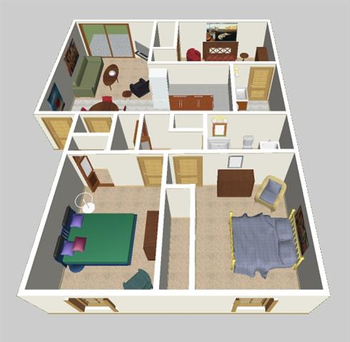 apartments with three bedrooms and two bathrooms - room image and