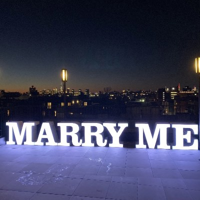 rent marry me lighted sign