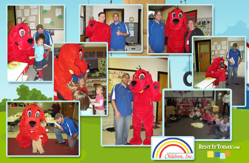 Rent It Today and Clifford The Big Red Dog Visit Children in Montesori School