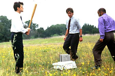 office space, the movie, scene destroying it.