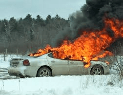 Stranded Burning Car