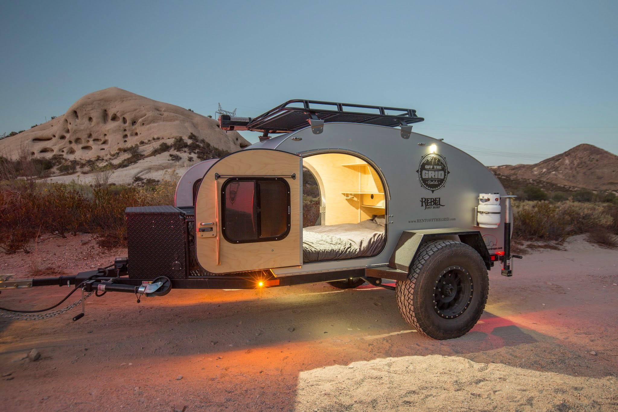 off road teardrop trailers off the grid rentals. Black Bedroom Furniture Sets. Home Design Ideas
