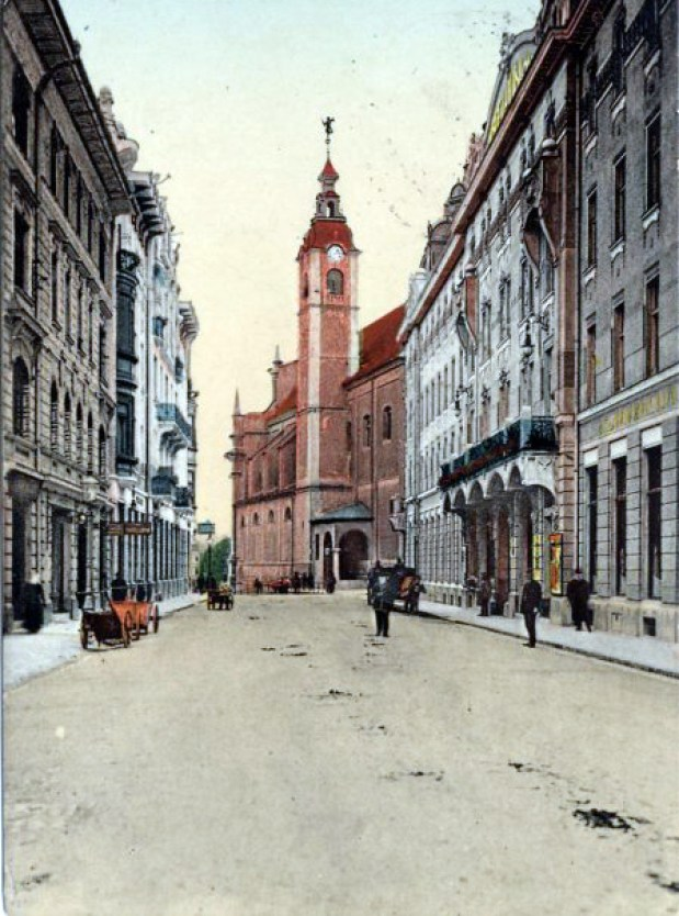 1914 - Miklošičeva ulica, hotel Union in Frančiškanska cerkev