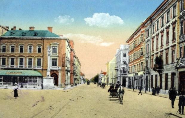 1924 - Dunajska cesta in svetovljanska kavarna Evropa na levi