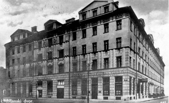 1927 - Ljubljanski dvor ob Kolodvorski ulici, kjer je domovala podružnica Jugoslovanske banke
