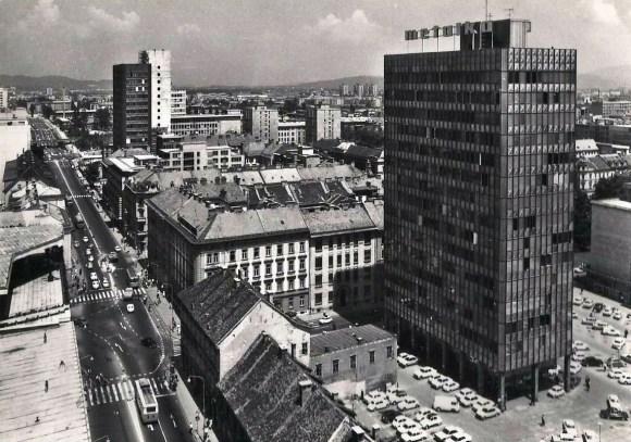 1960 - pogled na Metalko in Avtotehno z Nebotičnika