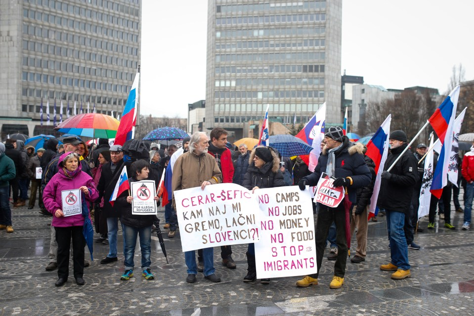 Demonstracije proti imigrantom, Ljubljana, 27.2.2016 (STA)