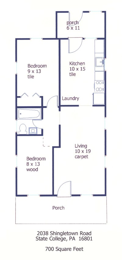 Floor plan for the 2-bedroom house for rent at 2038 Shingletown Road in State College, PA