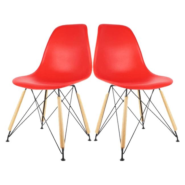 lot de 2 chaises scandinaves the concept factory coque plastique rouge et pieds noirs et bois